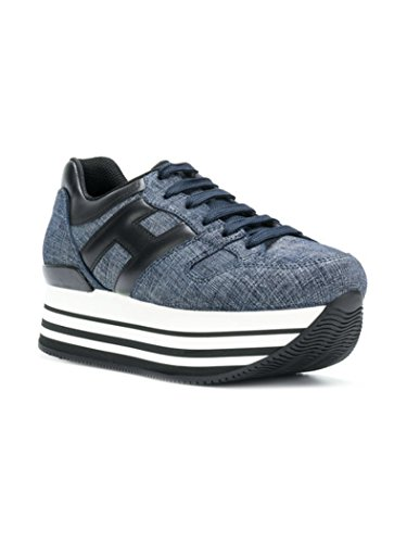 in Blu Scuro Allacciata Donna Jeans 222 Sneakers Grande Nera Calzatura H283 Maxi Hogan Pelle H OvFCTO