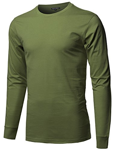 Style by William Causal Solid Basic 100% Ring Spun Cotton Long Sleeve T-Shirt Army Green ()