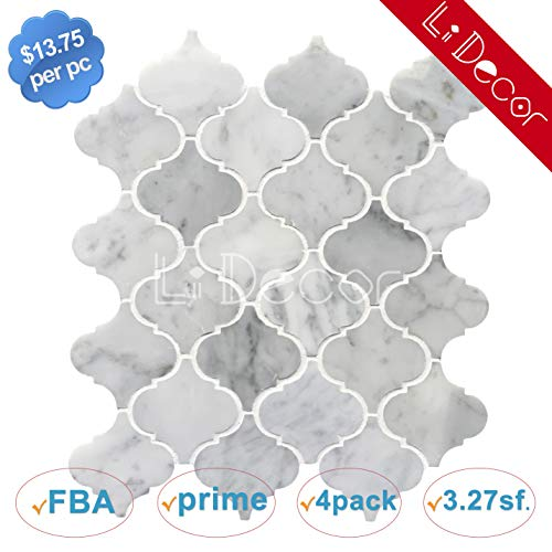 Carrara White Marble Arabesque Tiles Polished ()