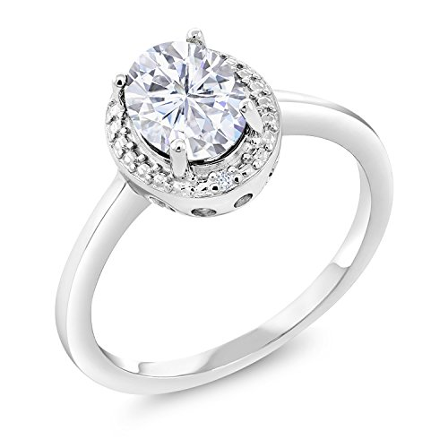 925 Sterling Silver Fashion Right-Hand Ring Forever Classic Oval 1.50ct (DEW) Created Moissanite by Charles & Colvard and Diamond