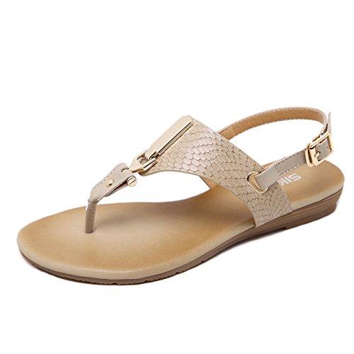 Meeshine Women's Casual Slingback Summer Beach Thong Flat Sandal (8 B(M) US, Gold) ()