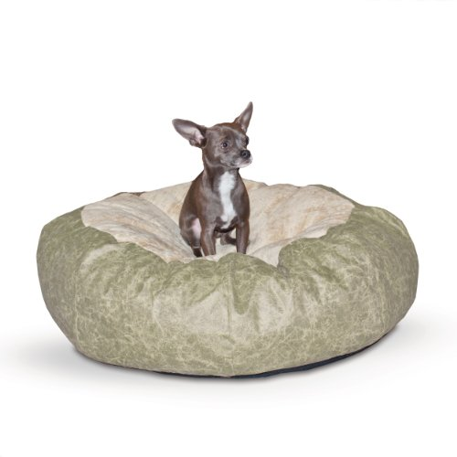 K&H Pet Products Self Warming Distress Cuddle Ball Pet Bed Small, Green