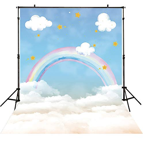 Allenjoy 5x7ft Polyester Children Backdrop Rainbow and Stars above Clouds Watercolor Background for Photography or Birthday Celebration