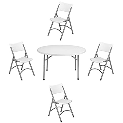Amazoncom Nps 48 Inch Round Folding Table And Set Of 4 Chairs