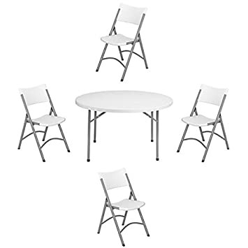 Superb Amazon Com Nps 48 Inch Round Folding Table And Set Of 4 Bralicious Painted Fabric Chair Ideas Braliciousco