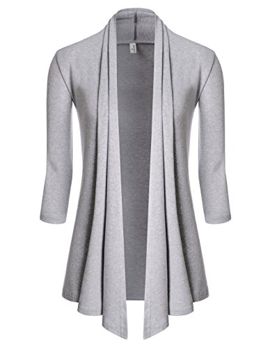 (NEARKIN (NKNKWCD6937 Womens Open Front Slim Cut Look 3/4 Sleeve City Casual Cardigans Gray US XL(Tag Size 2XL) )