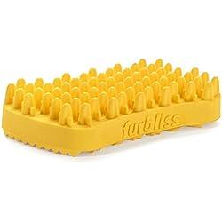 VETNIQUE LABS Furbliss Yellow Brush for Short Hair, Medium to Large Pets, Multi-functional Grooming Bathing Massaging Brush