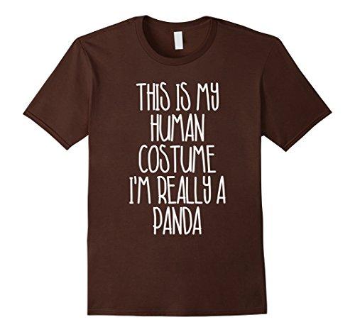 Mens Cute Simple Panda Halloween Costume Shirt for Girls Boys Men Small Brown