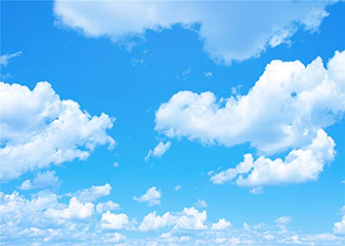 GYA 7x5ft Blue Sky White Clouds Photo Background Sunshine Sky Clouds Theme Photography Backdrop Photo Booth Wedding Party Decoration Background Studio Props Vinyl dn153-7x5FT ()