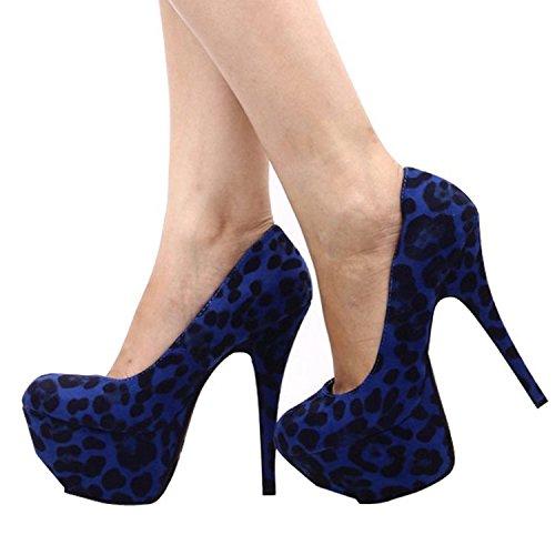 Coolcept Scarpe Con Tacco Alto Da Donna Leopard Runde Scarpe Con Tacco A Spillo Stiletto Per Party Blu