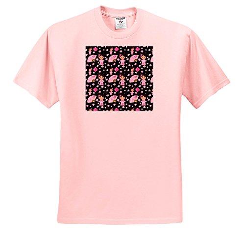 Uta Naumann Pattern - Cherry Blossom Sakura Girl Asia Pattern On Black - T-Shirts - Adult Light-Pink-T-Shirt 3XL - Blossom Light T-shirt Womens