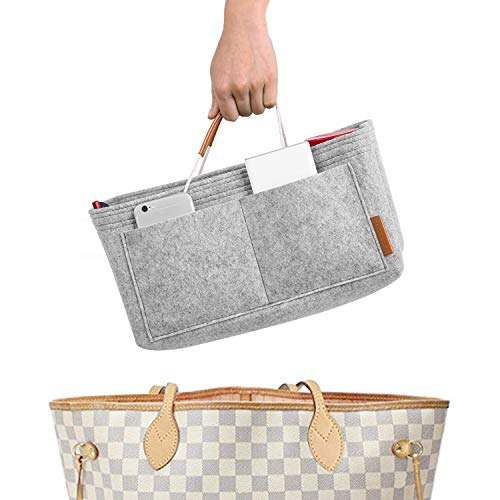 Foregoer Felt Handbag Bag Organiser Insert for Tote with Handles (Grey,...
