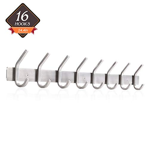 Amzdeal Wall Mounted Coat Rack Hook Rail Stainless Steel Heavy Duty Modern Hook with 8 Dual Hooks for Bedroom Bathroom Kitchen Hallways Office