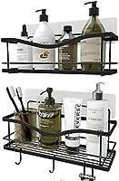 KINCMAX Shower Caddy Basket Shelf with Hooks for Hanging Sponge and Razor,Shampoo Holder Organizer,No Drilling Adhesive...