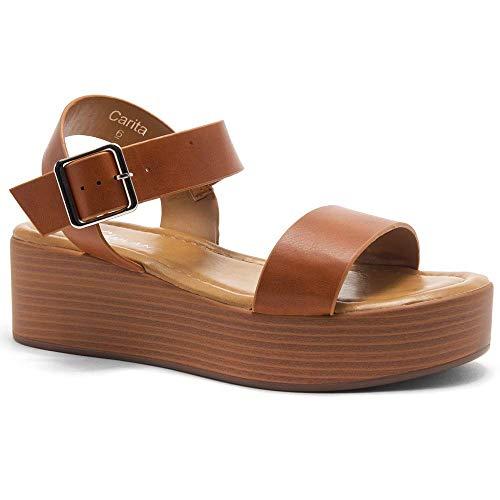 (Herstyle Carita Women's Open Toe Ankle Strap Platform Wedge Sandals Cognac/Wood 11.0)