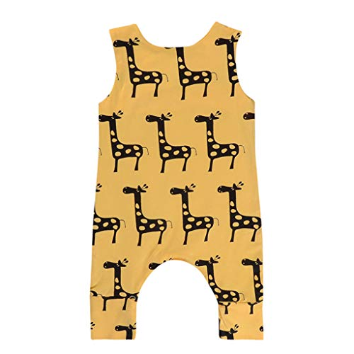 Waymine Baby Boys Girls Sleeveless Cartoon Giraffe Print Romper Jumpsuit Clothes Yellow ()