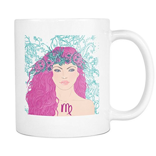 ArtsyMod VIRGO GIRL ZODIAC SIGN Premium Coffee Mug, PERFECT HOROSCOPE GIFT FOR VIRGOANS, AUGUST SEPTEMBER BIRTHDAY WOMAN! Attractive Durable White Ceramic Mug (15oz., Pink Hair)