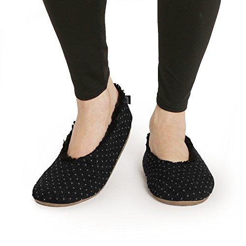Zapatillas De Patrón De Punto Pembrook - Estilo Ballet Con Suela Antideslizante - Tallas S, M, L - Forro De Piel De Oveja Falso Y Suela De Gamuza - Zapatillas De Gran Felpa En Casa Zapatillas Para Adultos, Mujeres, Niñas Negro