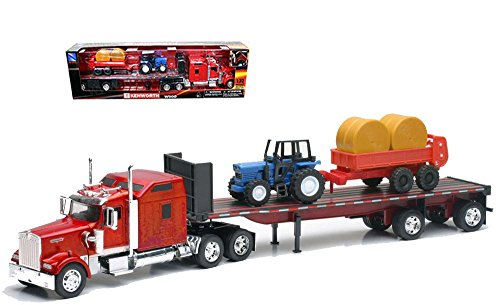 NEW 1:32 NEWRAY TRUCK & TRAILER COLLECTION - Long Haul Trucker Kenworth W900 Flatbed with Hay Bale Tractor Diecast Model By NEW RAY TOYS