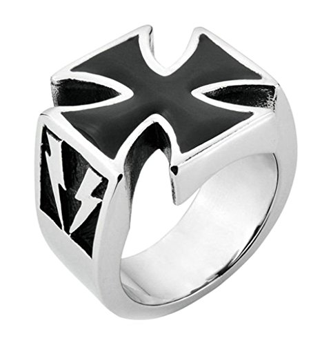 Xiangling Jewelry Mens Stainless Steel Gothic Iron Cross Finger Ring Band Designs Biker Punk Rock Silver Black, Size 9