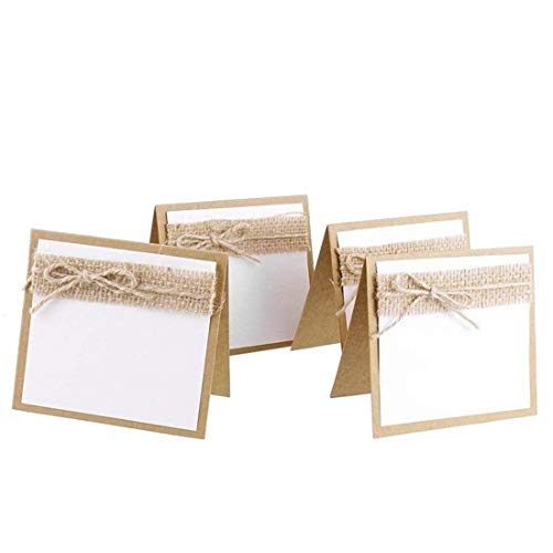 - 20pcs Burlap Guest Wedding Party Table Place Cards Wedding Collection Set for Shabby Chic Rustic Wedding