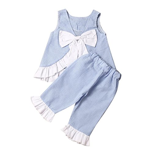 Vibola Summer 2PCS Baby Girl Cute Bow Vest Tops + Shorts Pants Clothes Outfits Set (Size:5T, Blue)