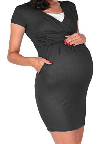 Happy Mama. Para Mujer vestido premamá y de lactancia doble capa bolsillos. 963p Grafito