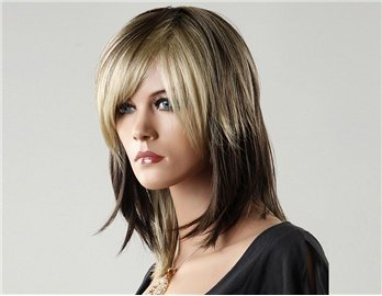 Amazon Com Gradient Medium Length Wig With Side Swept Bangs