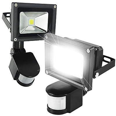2pack 10W PIR LED Flood Light White White Motion Sensor Floodlight Garden