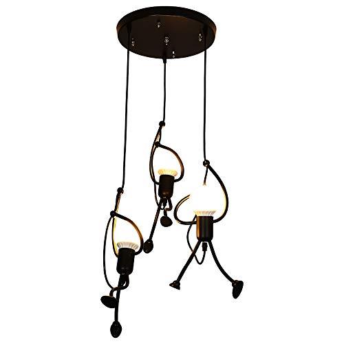 26 Three Lamp - CMES Nordic Wrought Iron Chandelier, Retro Creative Little Man Pendant Light, Bedroom Restaurant Cafe Clothing Store Modern Art Hanging Lamp Three Head 26 40CM,A [Energy Class A],B