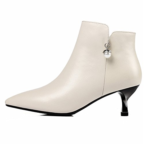 Pointed Handmade Women's With Leather Nine Genuine Heel Classy Stiletto Seven Beige Ankle Pearl Boots Toe pHSHwcIq