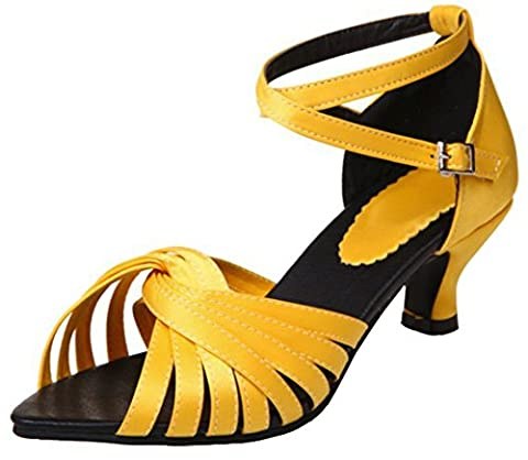 Sfnld Women's Retro Pointy Peep Toe Cross Strap Low Block Heels Sandals Yellow 10 B(M) US - Retro Peep Toe