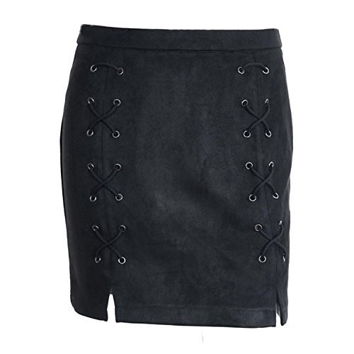 Amakuli Women Faux Suede Pencil Skirt Lace Up Mini Bodycon Skirt Cross Zipper Split (Zara Faux Leather Pencil Skirt)