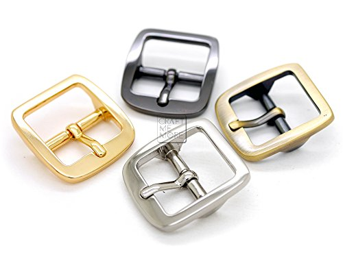CRAFTMEmore Single Prong Belt Buckle Square Center Bar Buckles Purse Making Accessories Fits 3/4 Inch Strap (10 Pack, Gunmetal)