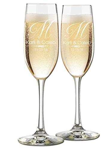 Custom Wedding Champagne Flutes- Set of 2 - Single Initial Elegant Monogram, Bride and Groom First Names with Wedding Date - Personalized for Bride and Groom - Customized Engraved Wedding Gift