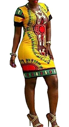 Mini Sleeve Dashiki Jaycargogo Dress African Yellow Print Short Women Traditional Bodycon s OOq8X7gnz