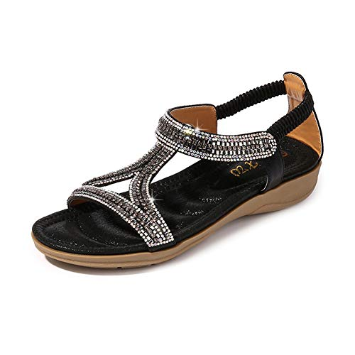 (Ruiatoo Women's Flat Sandals Hollow Triangle with Rhinestone Comfortable Summer Shoes for Ladies Dress Black 38)