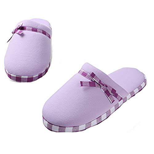 Aerusi Women Lady's Slip-On Soft Warm Cotton Indoor Slippers Scuff Home Bedroom Spa Footwear