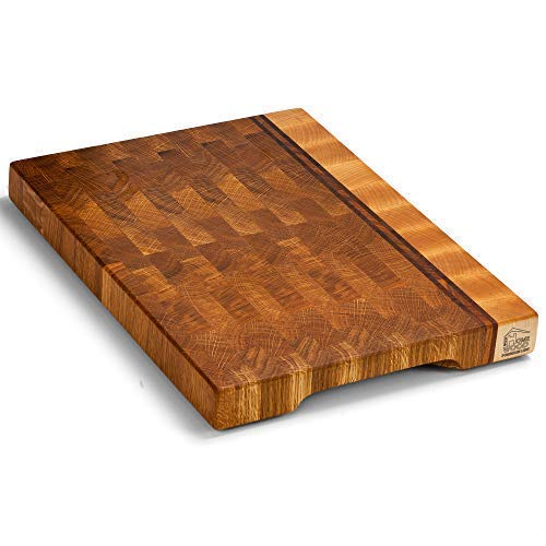 Eco Home Wood cutting boards for kitchen 16x12 inch Wooden butcher block cutting board end grain chopping block with feet