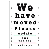 Moving Notice Postcards for Optometrists. Customizable on Card Back with Practice Info. 4'' x 6'', Full-Color Front & Premium High Gloss UV Coating. Black Text on Back, Sturdy 14 pt Card Stock