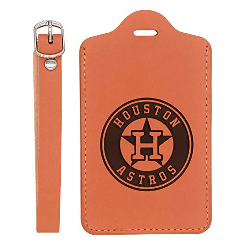 Mlb Houston Astros Engraved Synthetic Leather Luggage Tag (London Tan - Set Of 2) - United States Standard - Handcrafted By Mastercraftsmen - For Any Type Of Luggage