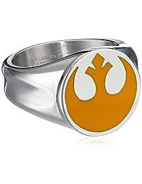 Star Wars Jewelry Men's Yellow Rebel Symbol Stainless Steel Ring