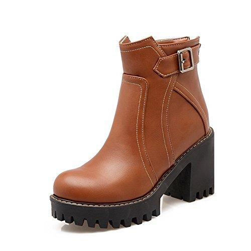 Heels Solid Zipper AgooLar Top Brown Low Women's Boots High PU qnRERSgw