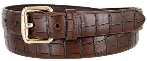 7075 Women's Skinny Alligator Embossed Leather Casual Dress Belt (Brown, Small)