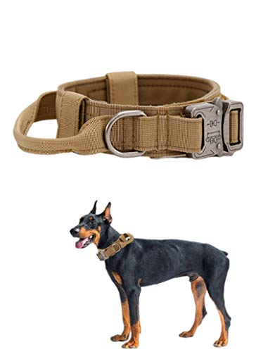 Tactical Dog Collar Nylon Adjustable K9 Collar Military Dog Collar Heavy Duty Metal Buckle with Handle for Dog Training (Brown L)