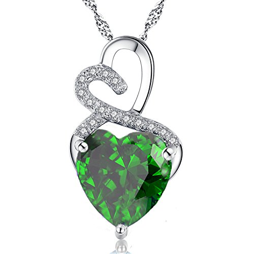 Mabella Double Heart Simulated Emerald Necklace Sterling Silver Valentines Gifts for Women (Emerald Heart Shaped Pendant)