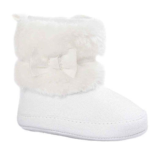 Baby Girls Winter Snow Boots with Bowknot (White) - 8
