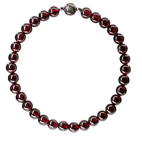 (Natural Gemstone 6mm Dargon Blood Jasper 925 Sterling Silver Round Beads Bracelet 7