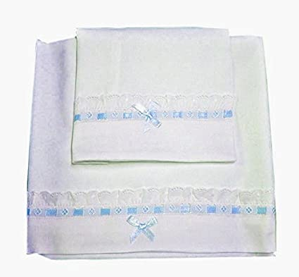 Zigozago Baby Bedding Set Crib cot pram Linen Embroidered Sheets Elegant; Size Light Blue Crib//pram 75 x 90 cm; Color