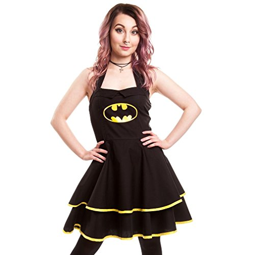 Batman Kleid Dress Logo Cape Umhang Damen Neckholder mit Schwarz Batman nwq8xWBXSC